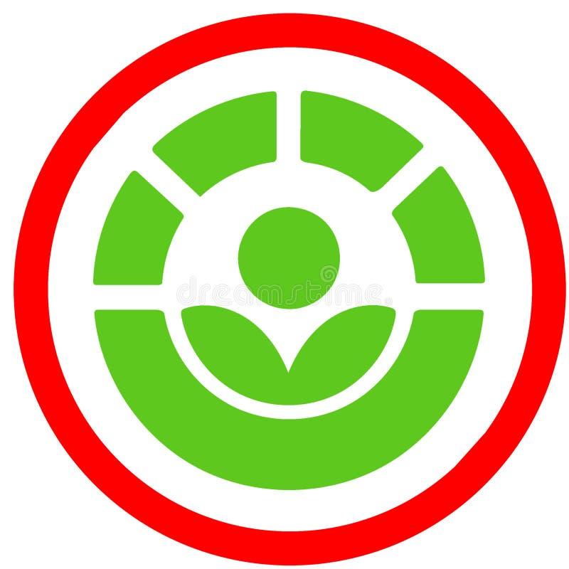 Il processo di Radura ha tenuto conto il segnale stradale circolare rosso di disenfection dell'alimento Simbolo o icona dell'alim illustrazione vettoriale