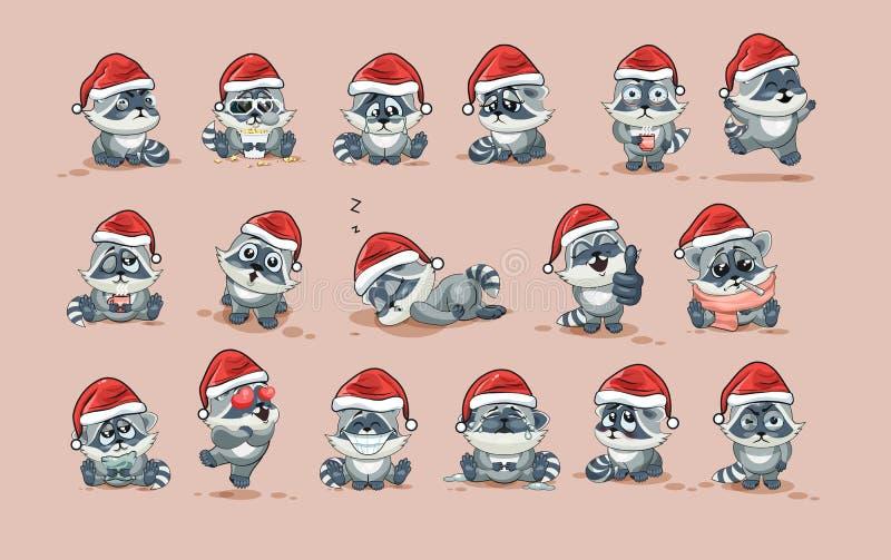 Il procione del fumetto del carattere di Emoji isolato illustrazioni figlia gli emoticon dell'autoadesivo con differenti emozioni illustrazione vettoriale