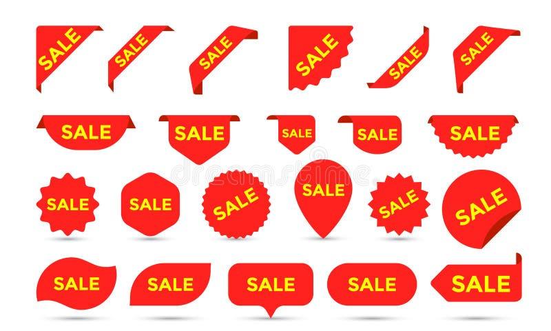 Il prodotto del negozio degli autoadesivi di vendita etichetta, etichette o i manifesti e le insegne di vendita vector i modelli  illustrazione vettoriale