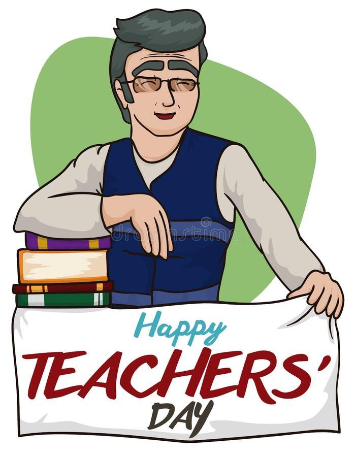 Il professor felice di storia con l'insegna di saluto per gli insegnanti giorno, illustrazione di vettore illustrazione vettoriale