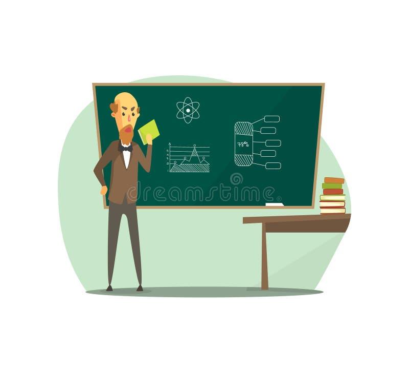 Il professor Standing davanti alla lavagna con il libro sulle sue mani, insegnante senior Students in aula al vettore della scuol illustrazione vettoriale