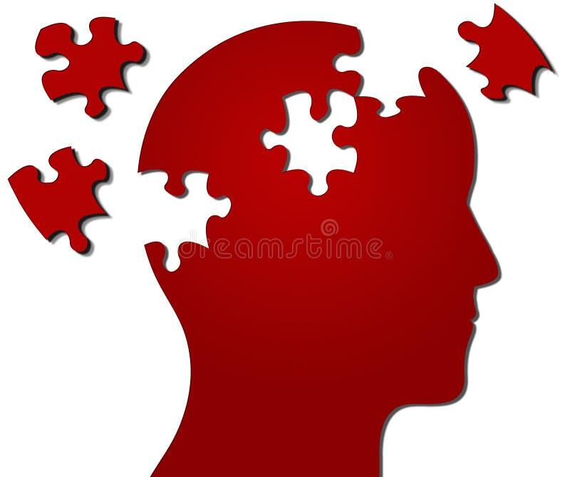 Il profilo della testa con il puzzle collega i missing illustrazione vettoriale