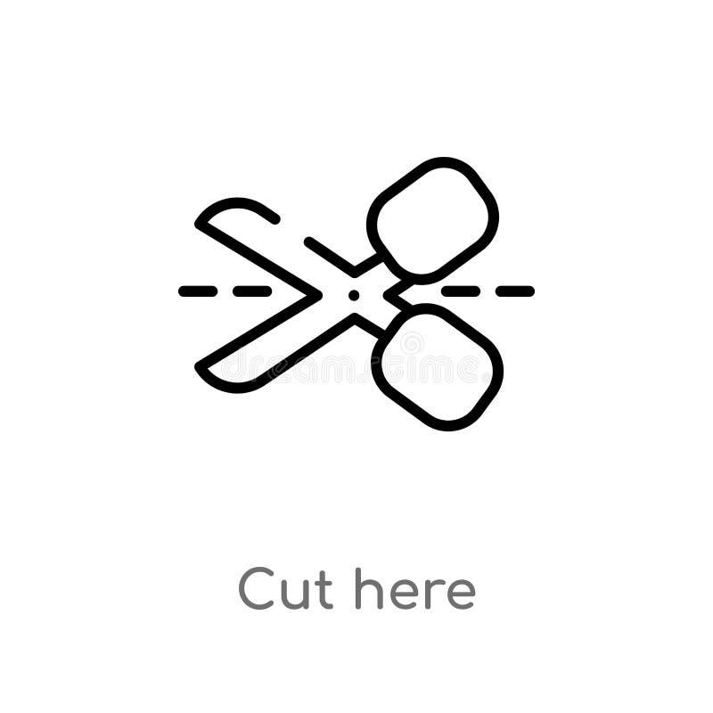 il profilo ha tagliato qui l'icona di vettore linea semplice nera isolata illustrazione dell'elemento dal concetto di forme il co illustrazione di stock