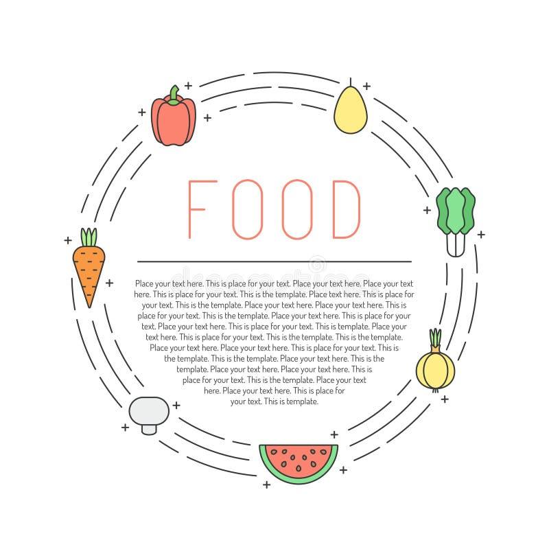 Il profilo multicolore della verdura e della frutta circonda la struttura con il posto per il vostro testo Progettazione di Minim illustrazione di stock