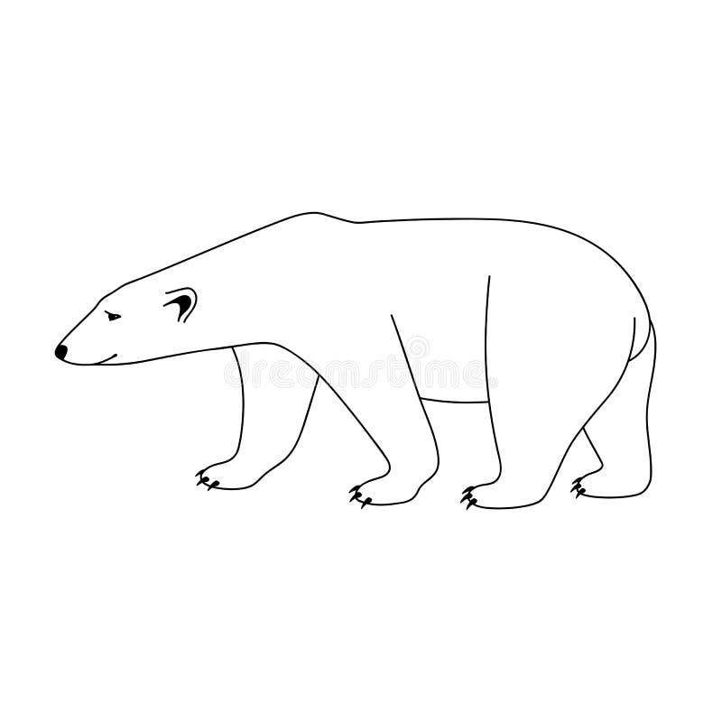 Il profilo nero isolato polare riguarda il fondo bianco Linee della curva Pagina del libro da colorare illustrazione vettoriale