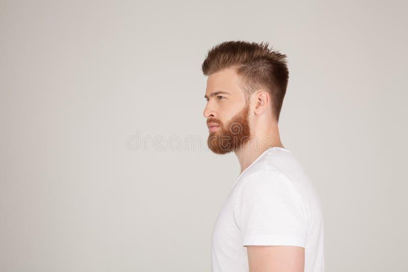 Il profilo sparato del maschio bello con la pettinatura e la barba d'avanguardia, guarda da parte con l'espressione seria, fa iso immagini stock