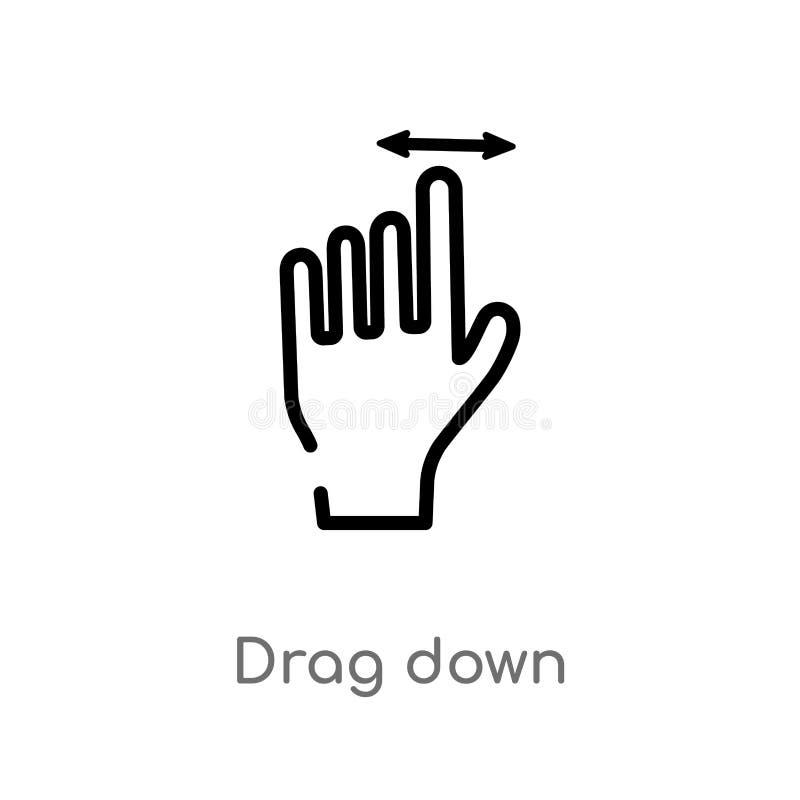 il profilo trascina giù l'icona di vettore linea semplice nera isolata illustrazione dell'elemento dal concetto di gesti resisten illustrazione di stock