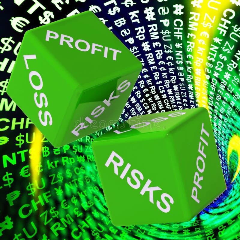 Il profitto, perdita, fondo dei dadi di rischi mostra gli investimenti rischiosi illustrazione vettoriale