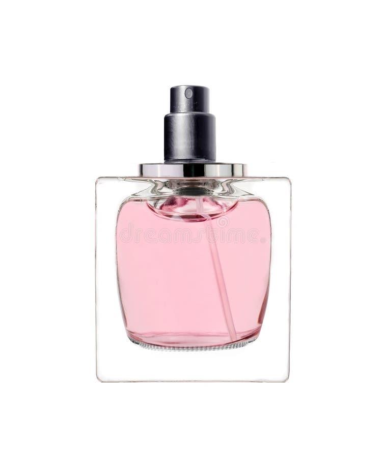 Il profumo delle donne in bella bottiglia isolata su bianco immagini stock libere da diritti