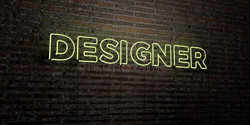 Il PROGETTISTA - insegna al neon realistica sul fondo del muro di mattoni - 3D ha reso l'immagine di riserva libera della sovrani illustrazione vettoriale