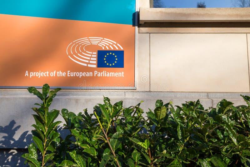 Il progetto del Parlamento Europeo firma a Bruxelles Belgio fotografia stock