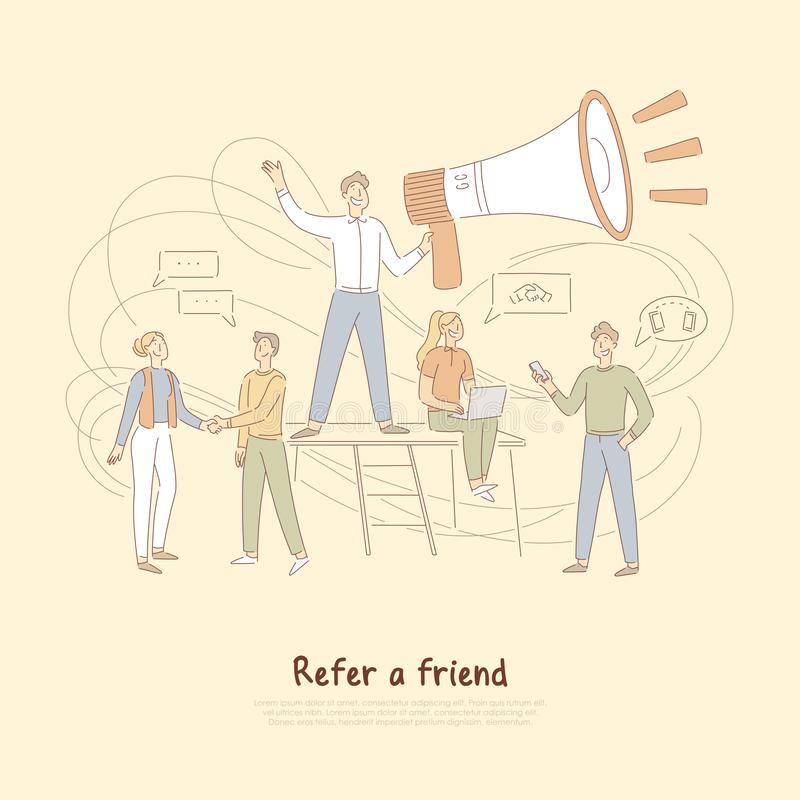 Il programma di rinvii, uomo d'affari che tiene il megafono enorme, la rete di vendita, fa riferimento un'insegna dell'amico illustrazione vettoriale