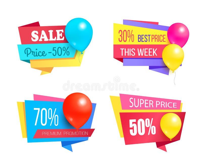 Il promo di vendita di promozione premio identifica i palloni messi royalty illustrazione gratis