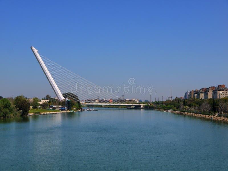 Il Puente ultra moderno Alamillo in Siviglia, Spagna immagine stock