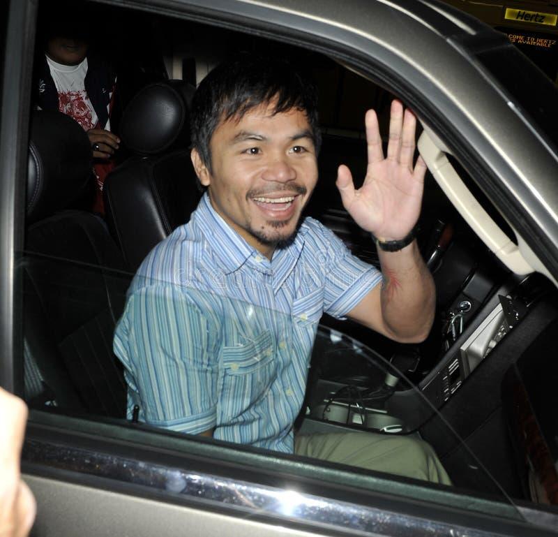 Il pugile Manny Pacquiao è veduto al LASSISMO. fotografia stock libera da diritti