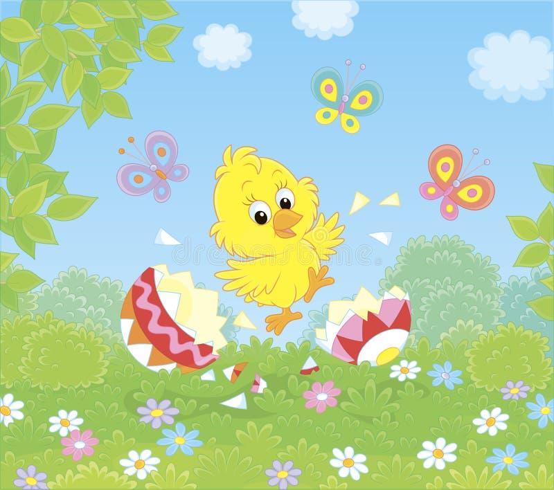 Il pulcino felice di Pasqua ha covato appena illustrazione di stock