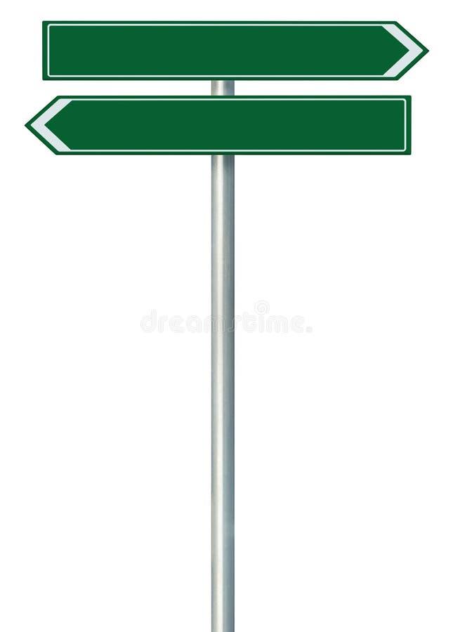 Il puntatore da destra a sinistra della direzione dell'itinerario della strada questo segno di modo, verde verde ha isolato il co immagini stock