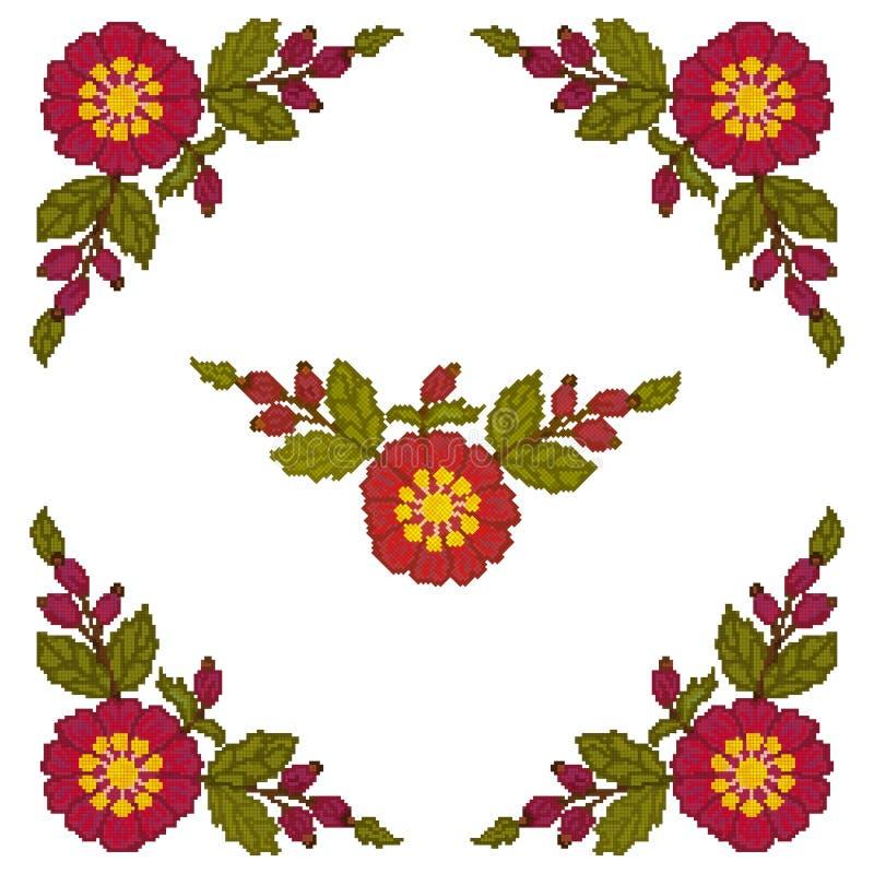 Il punto croce dell'elemento d'angolo è fiori rossi su un fondo bianco Vettore illustrazione vettoriale