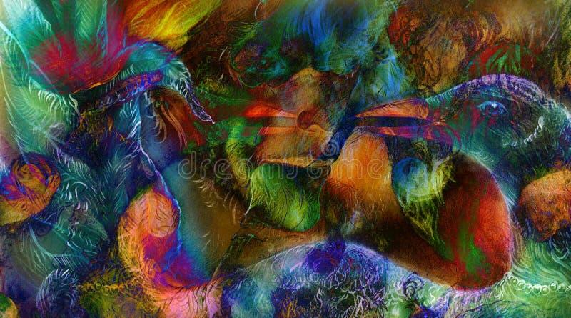 Il punto d'irradiazione elven le luci leggiadramente della creatura e di energia della donna ed il collage di Phoenix dell'uccell royalty illustrazione gratis