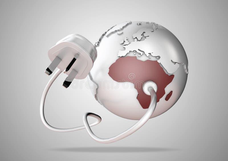Il punto del cavo e della spina di energia elettrica si collega in Africa brillantemente colorata su un globo del mondo illustrazione vettoriale