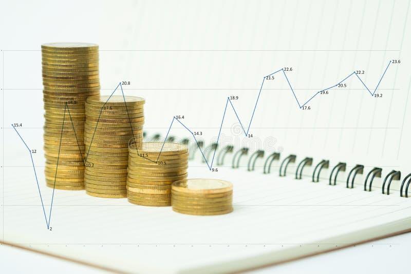 Il punto della pila delle monete sulla carta del taccuino con lo spazio della copia per aggiunge il concetto finanziario e di pia fotografie stock libere da diritti
