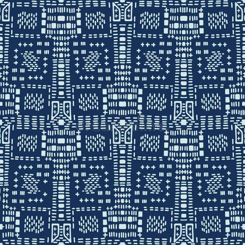 Il punto di stile giapponese del blu di indaco allinea il modello senza cuciture di vettore Disegnato a mano illustrazione vettoriale