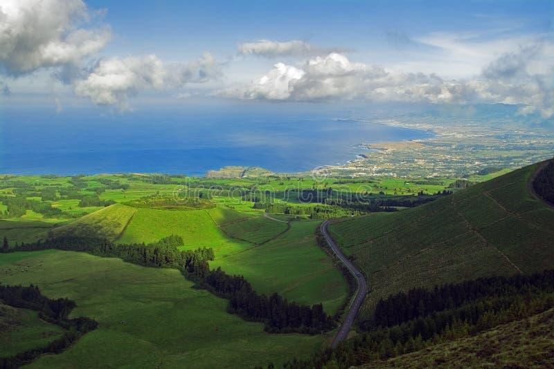Il punto di vista da Pico fa Carvão, Azzorre fotografia stock