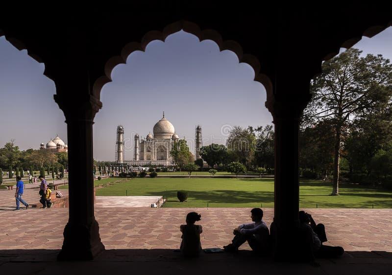 Il punto di vista iconico di Taj Mahal uno del mondo si domanda all'alba, Agra, India fotografia stock libera da diritti