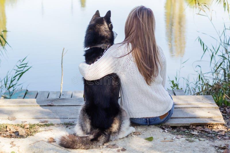 Il punto di vista posteriore della ragazza sta abbracciando il cane del husky all'aperto fotografia stock libera da diritti