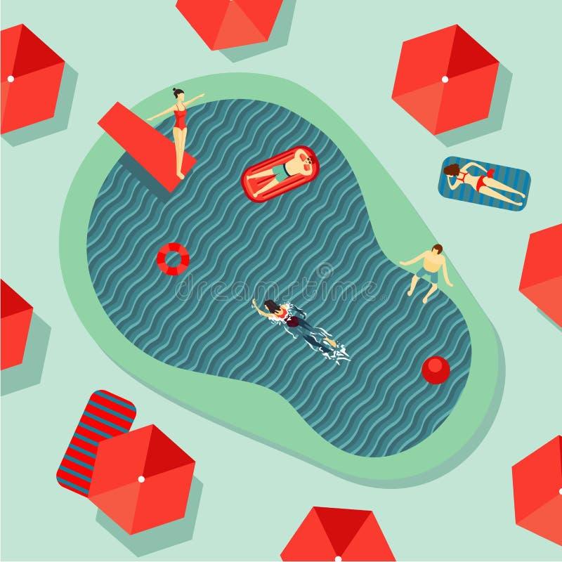 Il punto di vista superiore della piscina dell'hotel con la gente sugli uomini di un resto e le donne bagnano e prendono il sole  illustrazione di stock