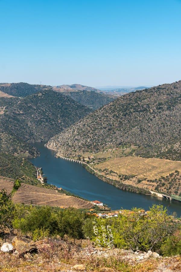 Il punto di vista di Vargelas concede vedere un vasto paesaggio sul Duero e sui suoi pendii artificiali Regione del Duero, region fotografia stock libera da diritti