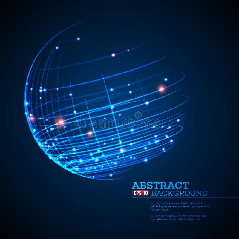 Il punto e la curva hanno costruito il wireframe della sfera, fondo tecnologico dell'estratto di senso Illustrazione di vettore illustrazione di stock