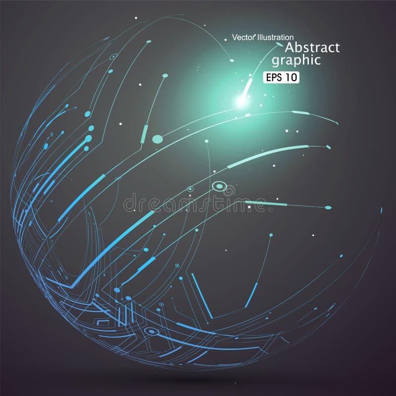 Il punto e la curva hanno costruito il wireframe della sfera, illustrazione tecnologica dell'estratto di senso illustrazione vettoriale