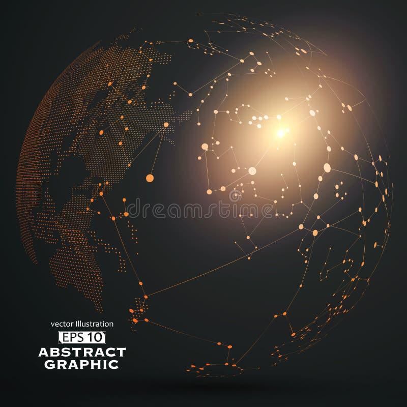 Il punto e la curva hanno costruito il wireframe della sfera, illustrazione tecnologica dell'estratto di senso royalty illustrazione gratis