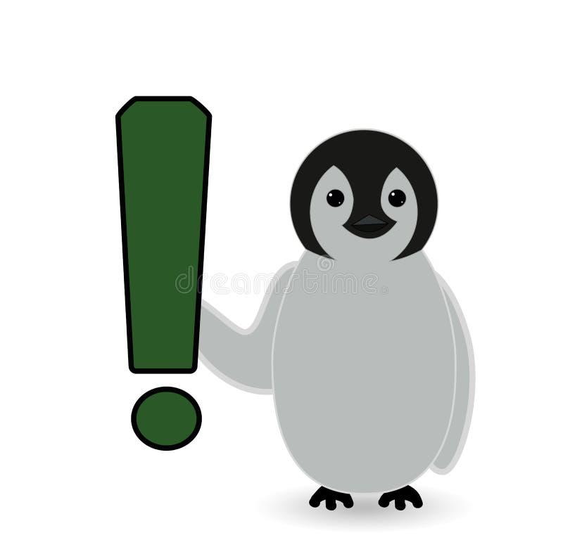 Il punto esclamativo di rappresentazione del pinguino si guarda da prego illustrazione vettoriale