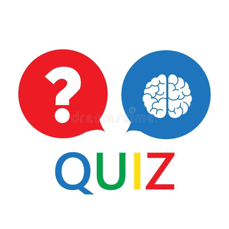 Il punto interrogativo ed il cervello gradiscono il quiz concetto di tempo del quizz, mente, illustrazione vettoriale