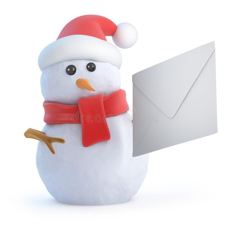 il pupazzo di neve di 3d Santa ottiene la posta illustrazione vettoriale
