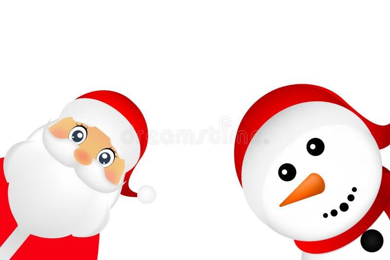 Il pupazzo di neve di Natale e di Santa Claus su un fondo bianco è stan illustrazione vettoriale