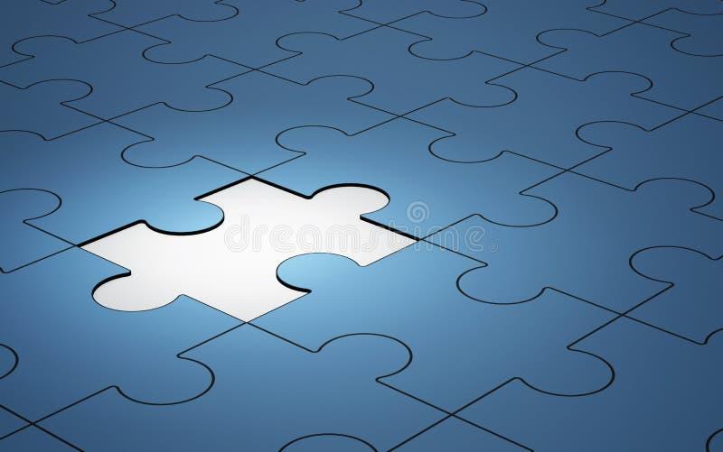 Il puzzle blu collega con l'ardore di un pezzo, 3d royalty illustrazione gratis