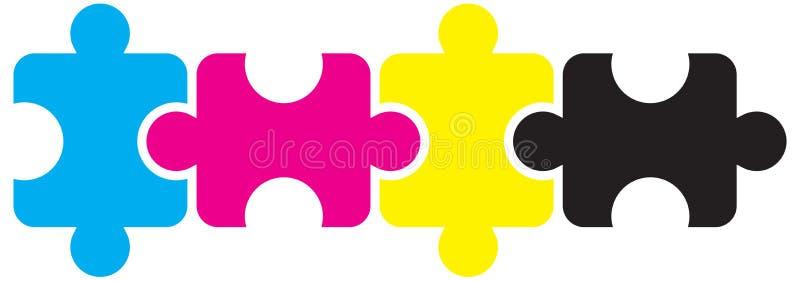 Il puzzle collega il concetto del cmyk su bianco illustrazione di stock