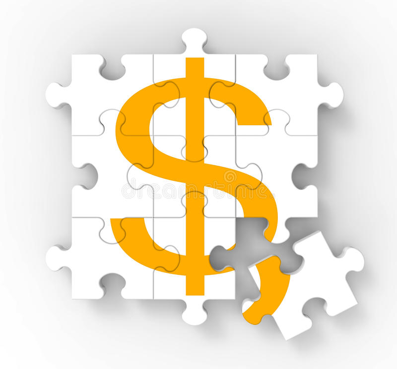 Il puzzle del dollaro mostra la ricchezza americana illustrazione vettoriale