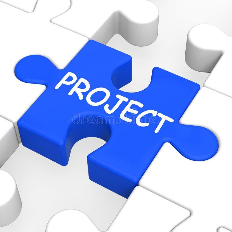 Il puzzle del progetto mostra la missione o il compito di piano illustrazione di stock