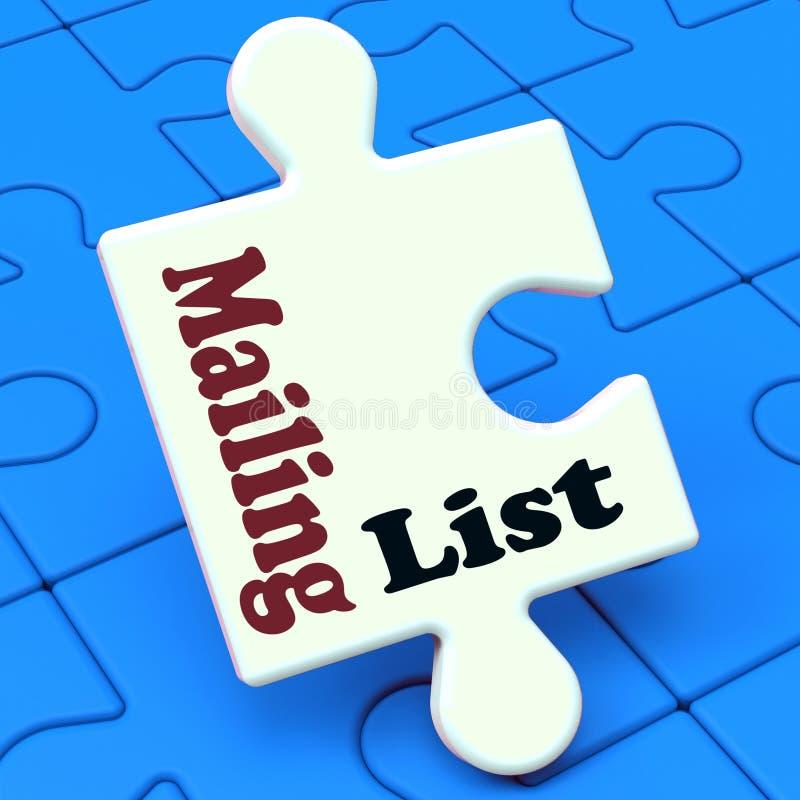 Il puzzle dell'elenco di indirizzi mostra le liste di vendita del email online illustrazione vettoriale