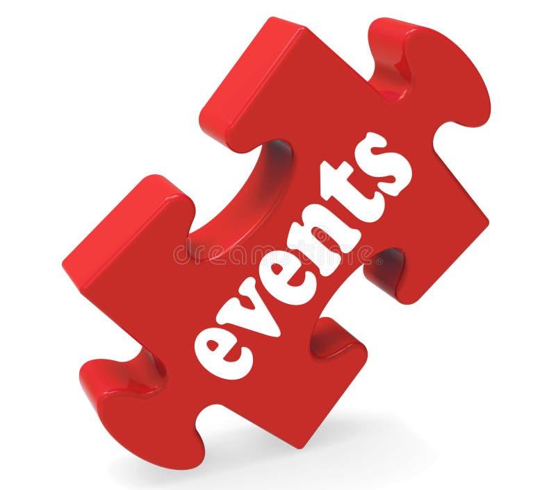 Il puzzle di eventi significa gli eventi di occasioni di concerti illustrazione vettoriale