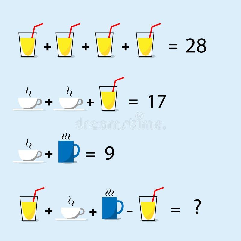 Il puzzle di per la matematica, processo decisionale, risolve la domanda di trucco illustrazione vettoriale