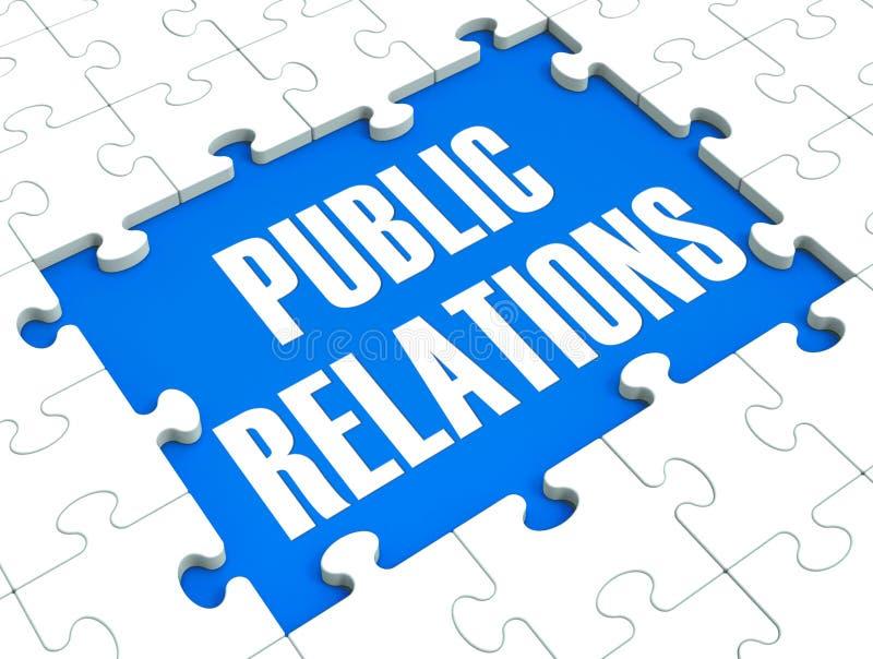 Il puzzle di pubbliche relazioni mostra la pubblicità e la stampa illustrazione di stock