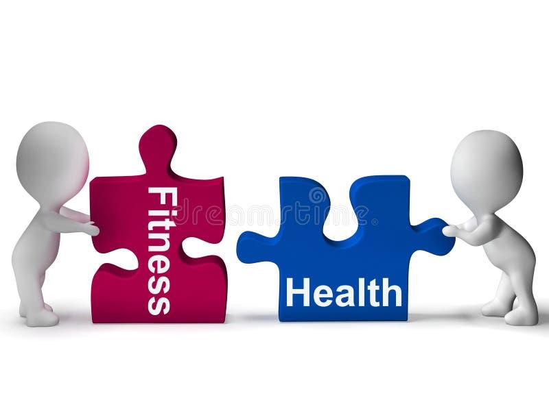 Il puzzle di salute di forma fisica mostra lo stile di vita sano royalty illustrazione gratis