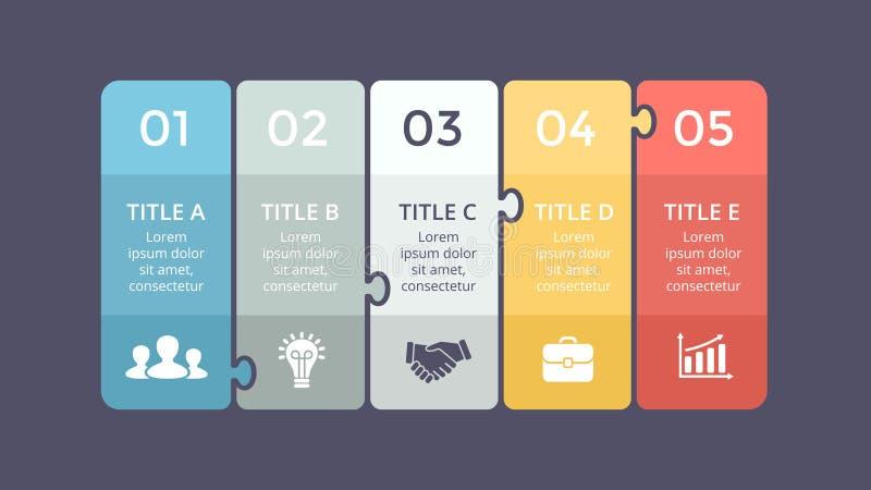 Il puzzle di vettore identifica infographic, il diagramma, il grafico, grafico della presentazione illustrazione di stock