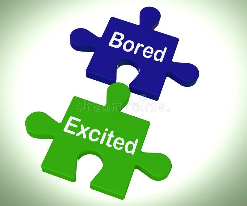 Il puzzle emozionante annoiato significa eccitare ed il divertimento illustrazione di stock