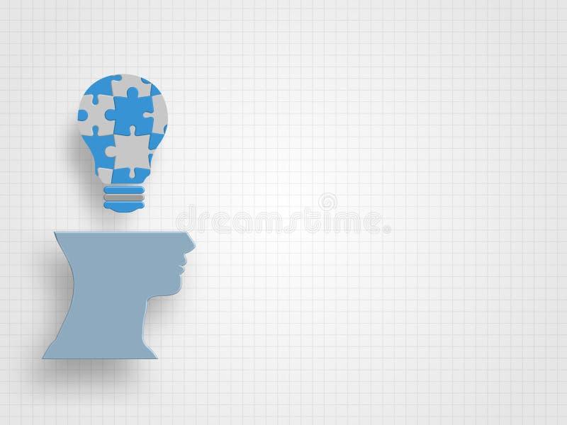 Il puzzle nella forma della lampadina sopra la testa umana del modello sul fondo di griglia rappresenta la nuovi idea e concetto  illustrazione vettoriale